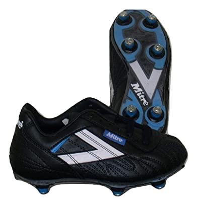 80241cd1543b Mitre Santos SI Junior Football Boots (UK 10) Black/Blue/White: Amazon.co.uk:  Shoes & Bags