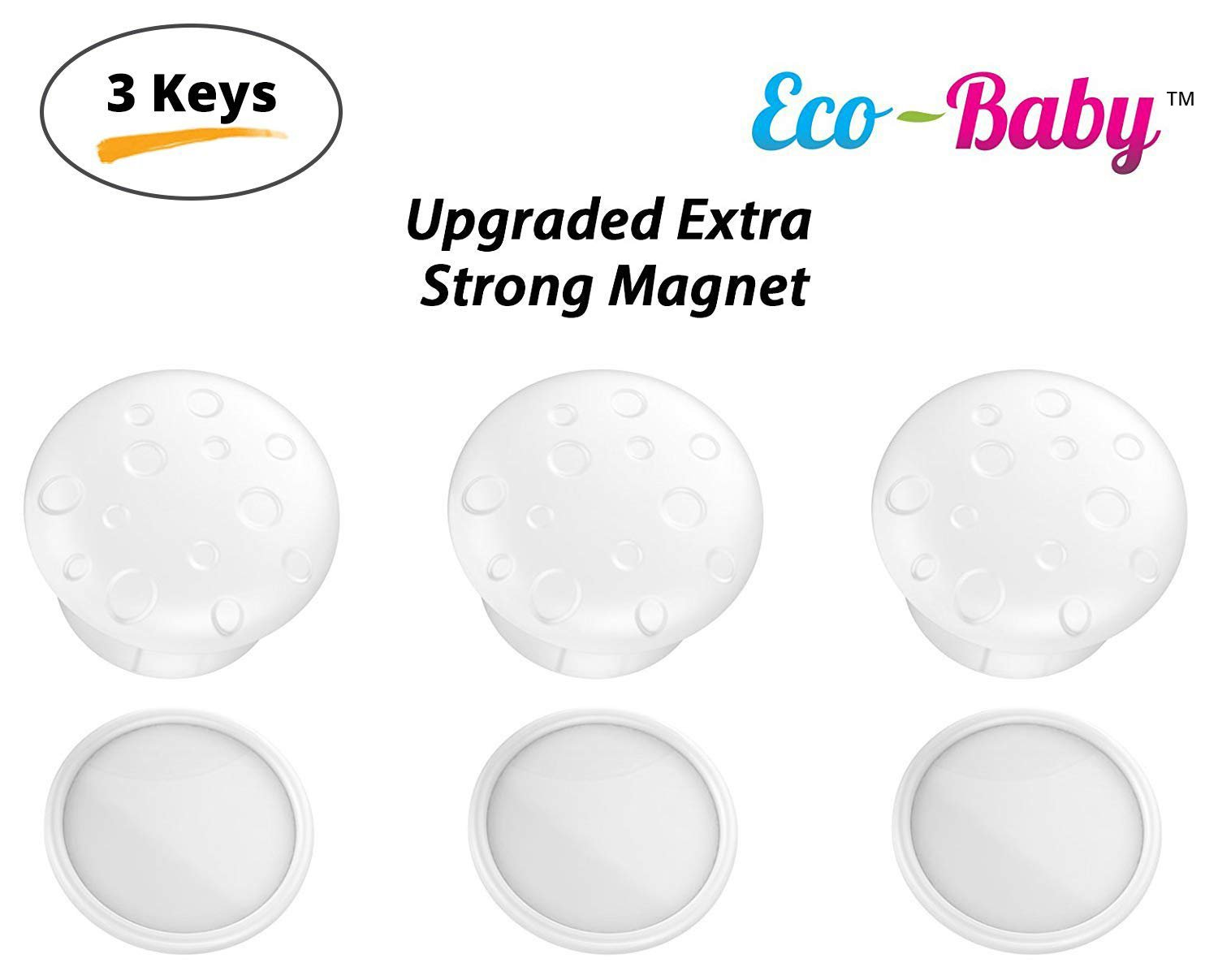 Universal Magnetic Safety Lock Key Replacements for Most Baby Child Proof Cabinet Drawer Locks by Ecobaby – Pack of 3 Magnetic Keys with 3 Adhesive Key Holders Extra Strong Reliable