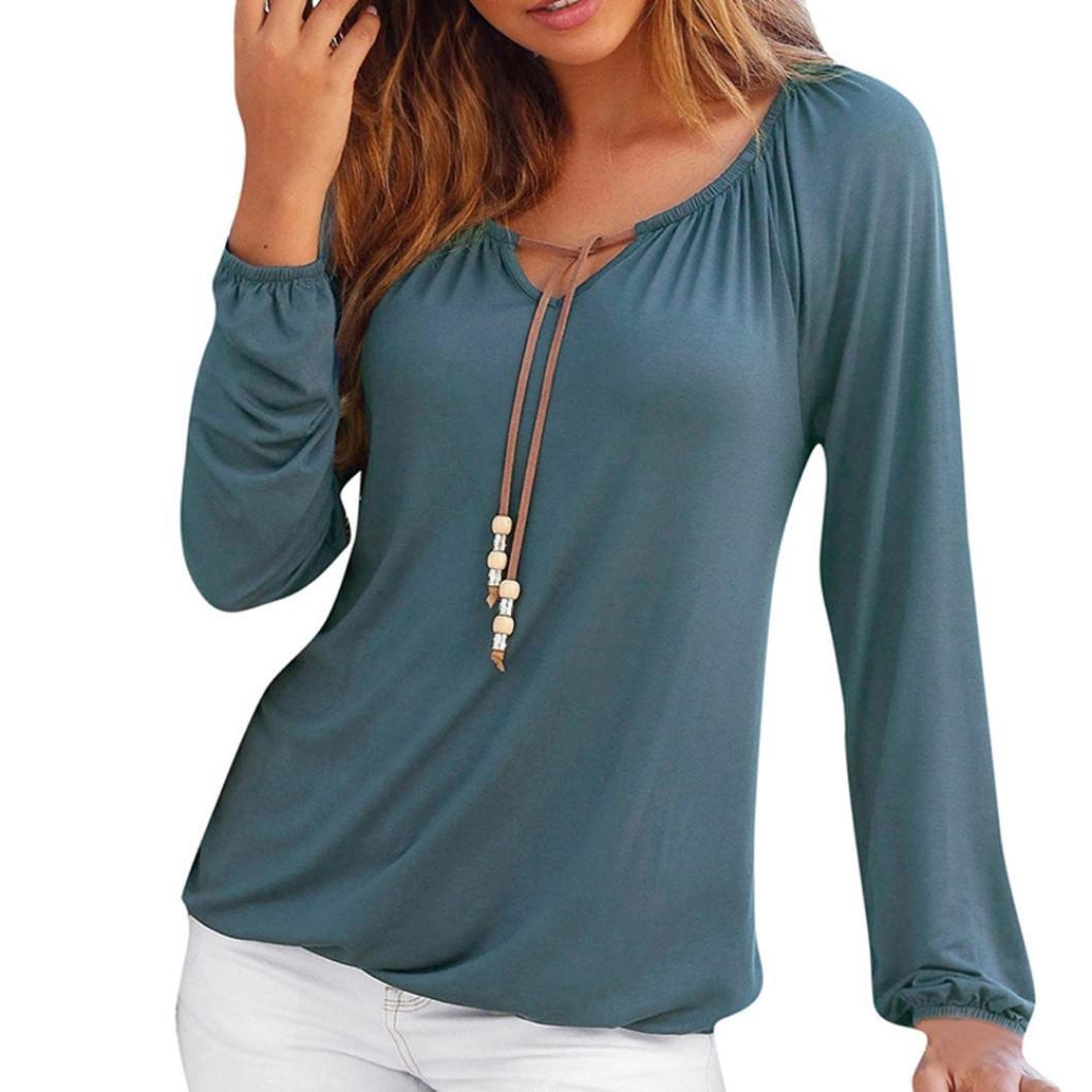 OverDose camisetas blusas manga larga para mujer V cuello tops bowknot sólido tallas grandes: Amazon.es: Ropa y accesorios