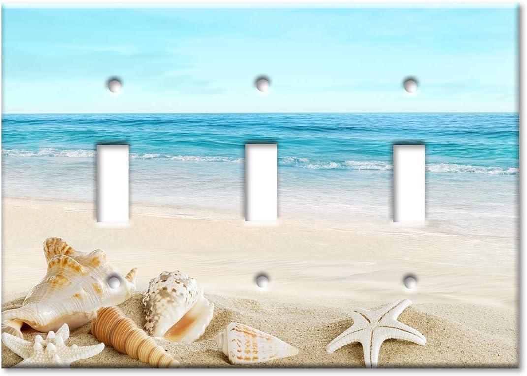 Art Plates 2 Gang Toggle Wall Plate Seashells on The Beach