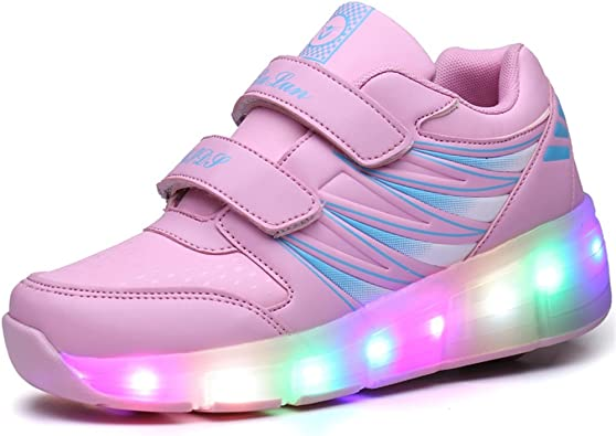 Ufatansy Kids Roller Shoes Girls Roller Skate Shoes Boys Sneakers LED Light up Wheels Shoes for Kids Best Gifts