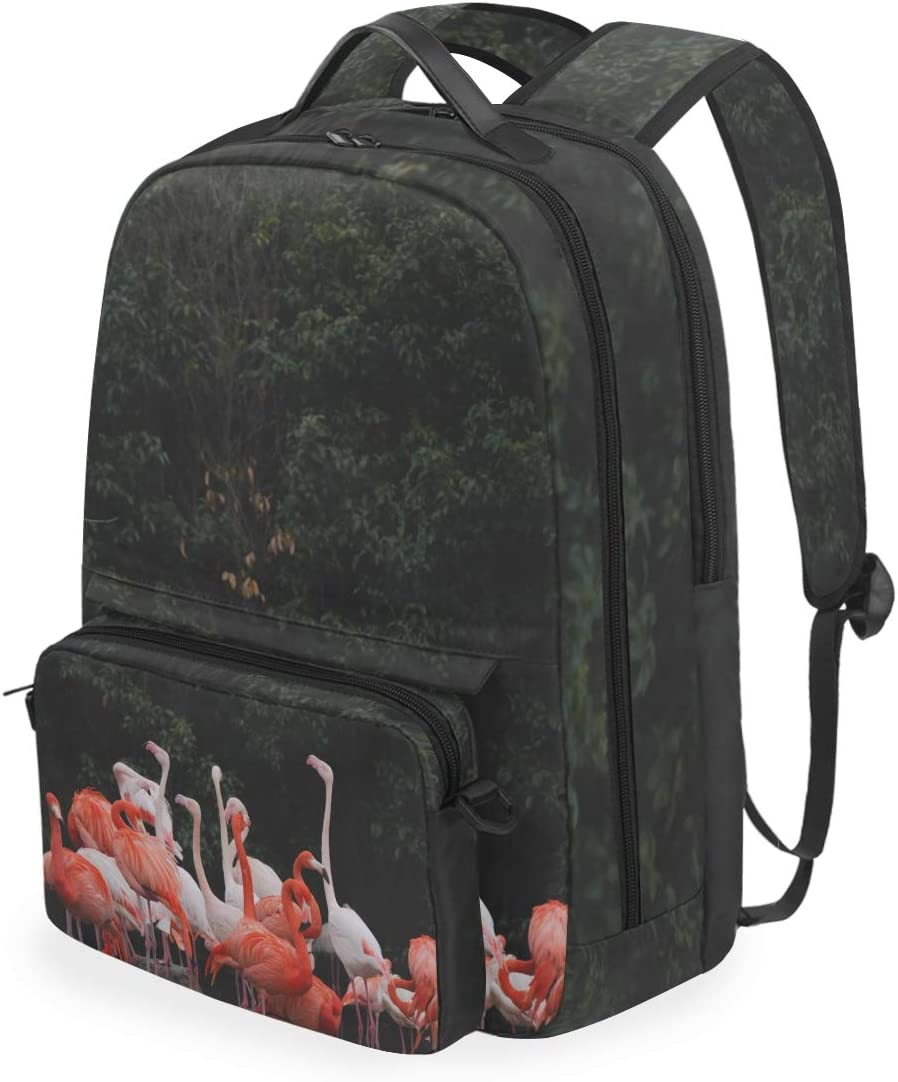Casual Daypack Backpack Flamingo Forest Nature Detachable Large Capacity Dual Use School Bags Crossbody Rucksack for Student Girls Boys Man Woman