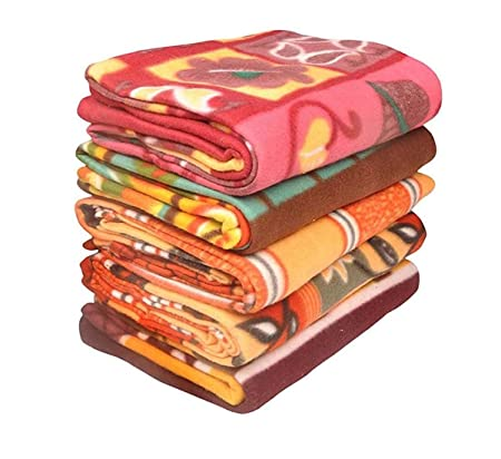 Sneha Polar Fleece Single Printed Bed Blanket Set of 5-Multicolor