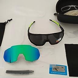 X-TIGER Gafas Ciclismo CE Certificación Polarizadas con 5 Lentes Intercambiables UV 400 Gafas,Corriendo,Moto MTB Bicicleta,Camping y Actividades al Aire Libre para Hombres y Mujeres TR-90 (JPC05-5): Amazon.es: Deportes y aire libre