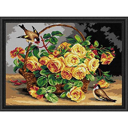 (Orchidea Yellow Rose Basket Needlepoint Canvas)