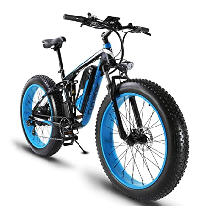 712c5060dd0 Amazon.com   Cyrusher XF800 Fat Tire Electric Bike 1000W 48V Mens Mountain  Bike Snow Ebike 26inch Bicycle Full Suspension Fork Hydraulic Brakes    Sports   ...
