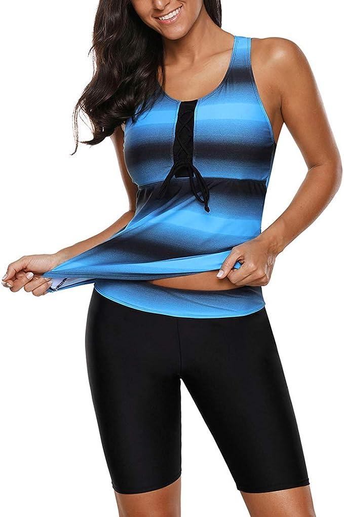 LASPERAL Femme Maillot de Bain 2 Pièces Tankini Rayures Imprimé Short Demi Long Grande Taille Élégant Swimsuit pour Plage Piscine Natation