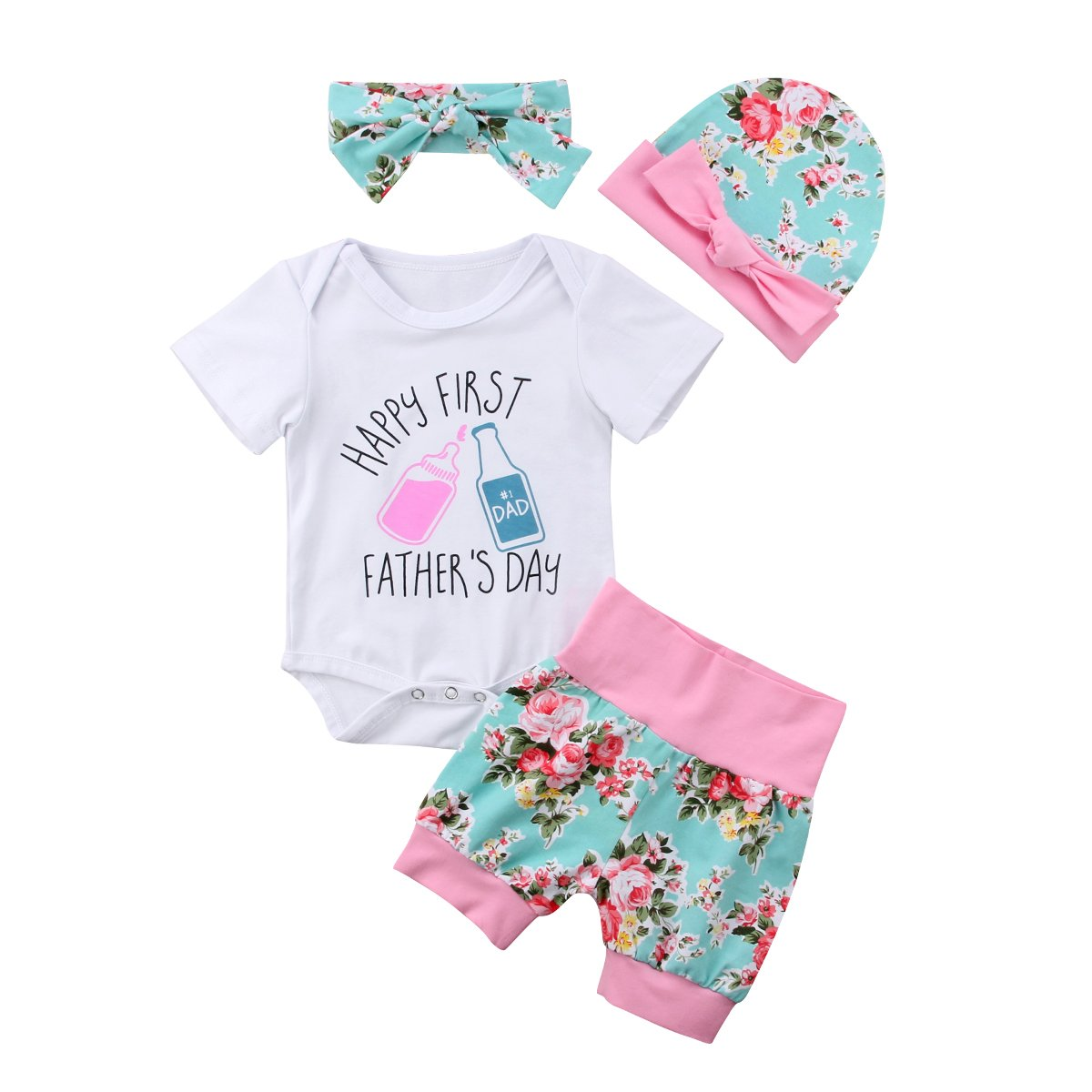 Floral Short Newborn Baby Casual Clothing Set for Mothers Day Fathers Day Round Neck Short Sleeve White Romper Hat Outfits Set 3 Pieces 0-24 Months