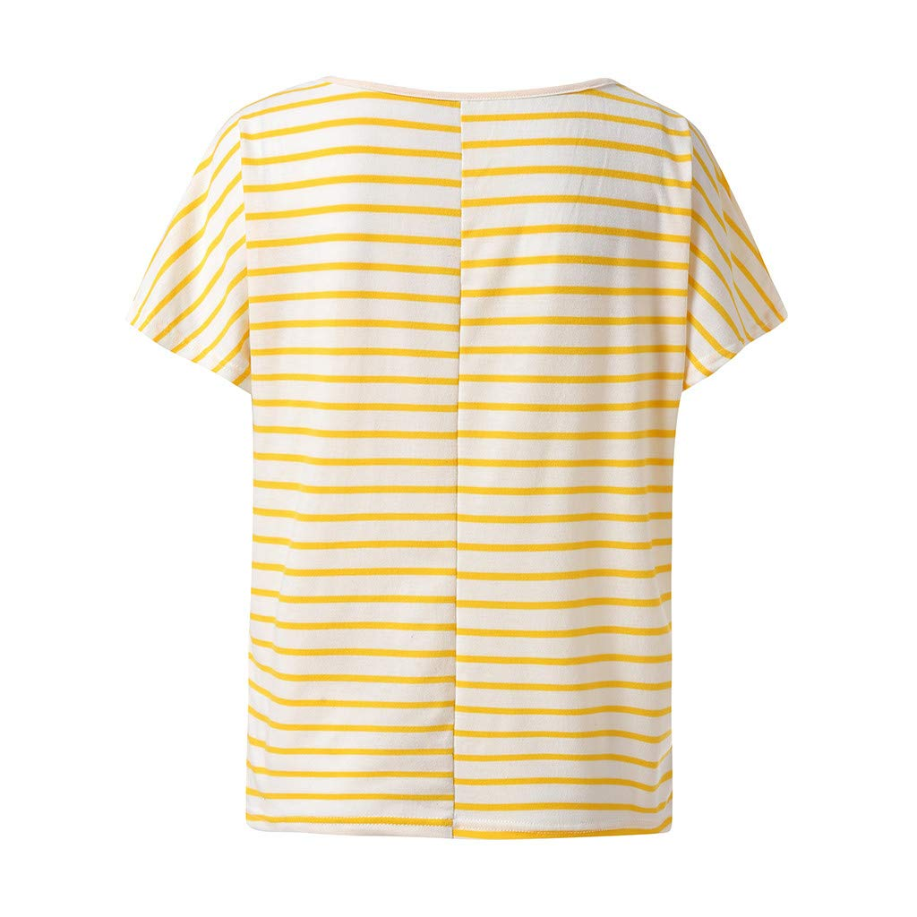 Keliay Cute Womens Tops Summer,Women Summer Casual Printed Striped O-Neck Short Sleeve Top Blouse Yellow by Keliay (Image #4)