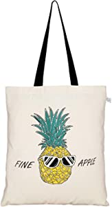EcoRight Canvas Tote bag for Women, Reusable Grocery Bag, Cute Bags, Printed Cotton Shopping bag, Beach bags, Gift bags, Bridesmaids Tote Bags, Book Bag | Fine Apple Pineapple | 0101X04