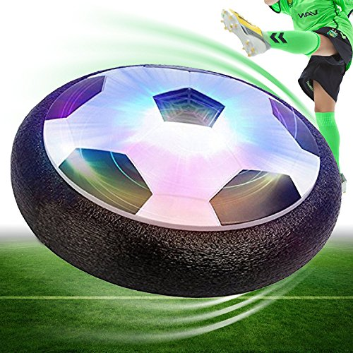 Hover Ball Air Power Soccer Disc Hover Soccer Football with Powerful LED Light, Gift for Boy and Girls, Training Football, Indoor& Outdoor Games (Black)