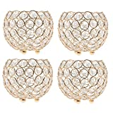 Blesiya 4x Crystal Bling Candle Holder for Wedding Party Dining Table DIY Decoration Dia. 10cm_ Gold