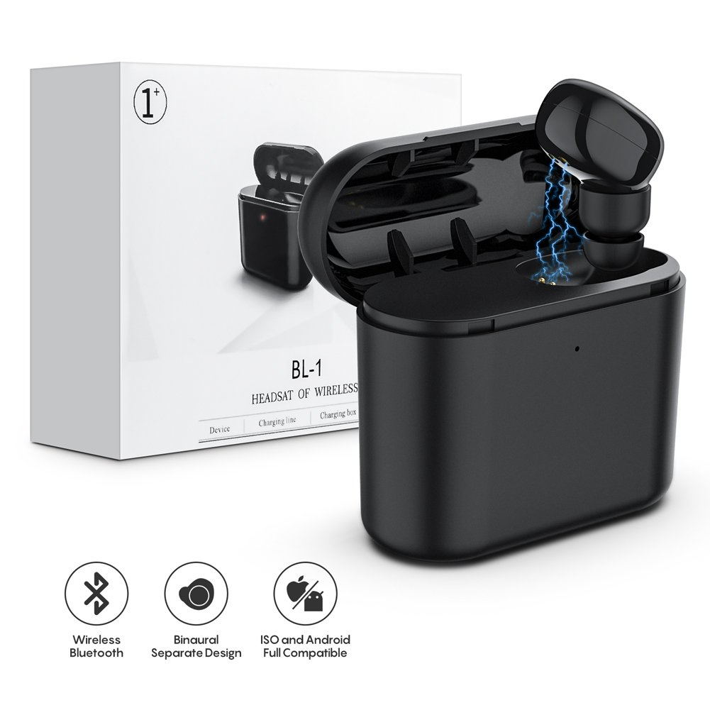 Bluetooth Earbud, Lstiaq Mini Wireless Sport Headphones HD Microphone Headset with charging box for iPhone X 8 7 6 Plus AirPods Samsung Smartphone (One Pcs) - Black (One Pcs)