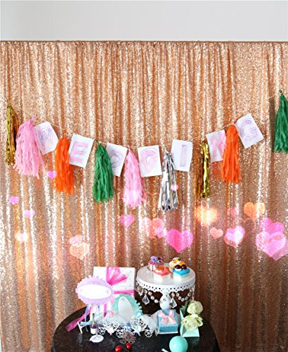 TRLYC 3Ft7Ft Rose Gold Sequin Photography Backdrop For (Gold Used Electronic Equipment)