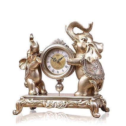 Family Fireplace Clocks Desktop Watch Tablecloth Clocks Living Room European Style Resin Clock Mute Bedside Clock