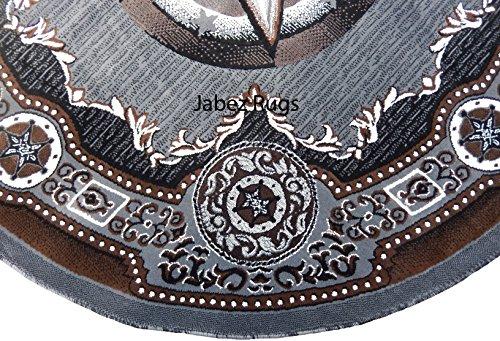 Texas Stars Cowboy Western 7x7 Area Rug Round Gray Black Actual Size 6'7 x 6'7