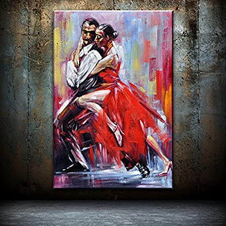 Real Hand Painted Dancing Couple Of Tango Canvas Oil Painting For Home Wall Art Decoration Not A Print Giclee Poster Framed Ready To Hang Posters Prints
