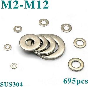 Zero Home 695Pcs 10 Sizes Stainless Steel Flat Washers Assortment Kit (M2 M2.5 M3 M3.5 M4 M5 M6 M8 M10 M12)