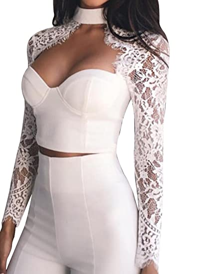 b65de0ad04307 Womens Sexy Long Sleeve Choker Zipper Crop Top Lace Mock Neck Crop Top (US 4