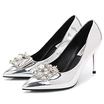 40ec8a44f81d Yra Women s Silver Pointed Toe Court shoes Stiletto Heels Shoes Wedding  Shoes Patent Leather with Rhinestone
