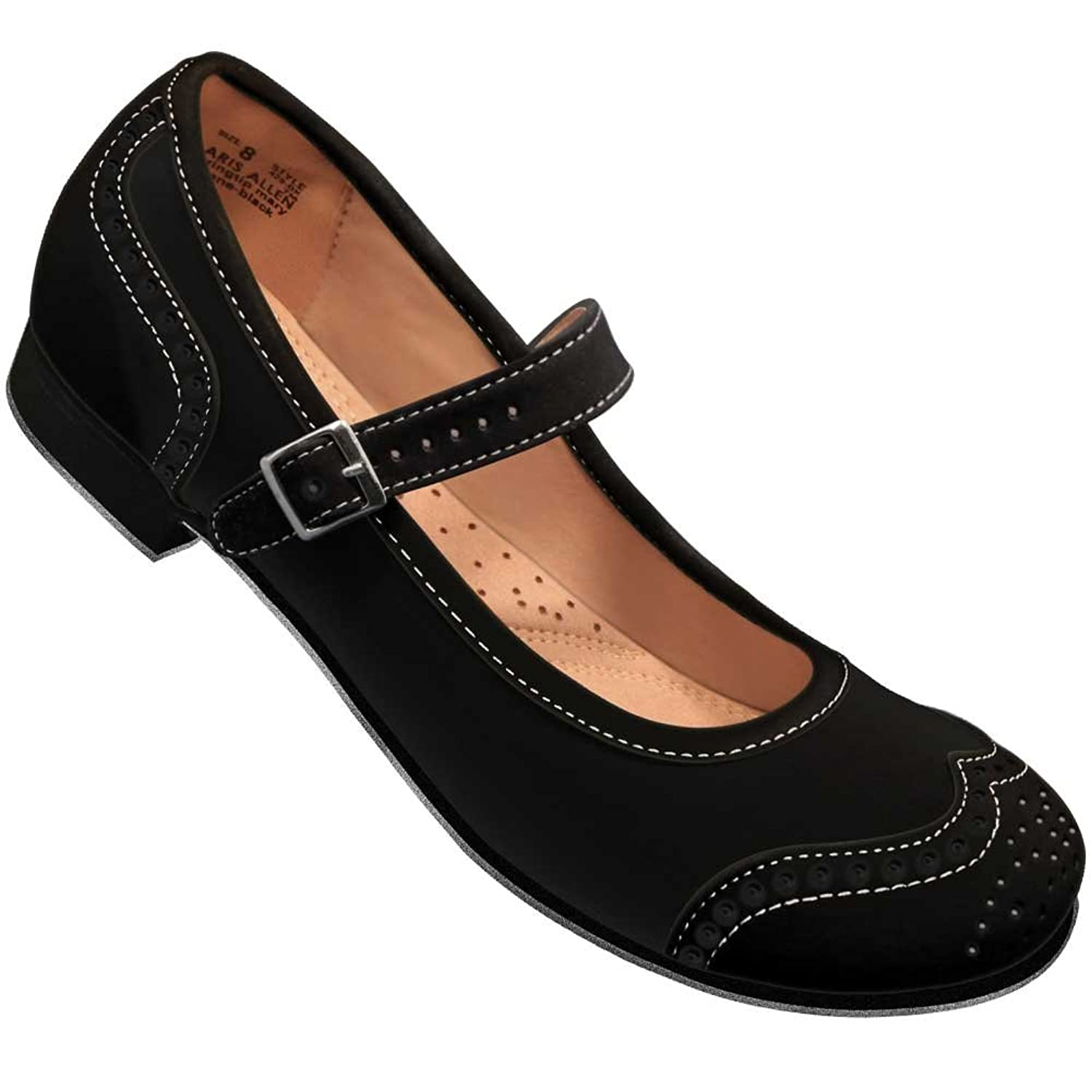 What Did Women Wear in the 1950s? Aris Allen Black Snub Toe Mary Jane Wingtips $48.95 AT vintagedancer.com