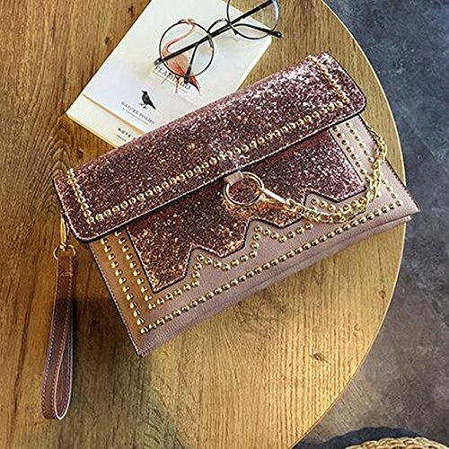 Sequined Rivet Banquet Bright Pink Drill Hand Personalized Bag Bag Bright Evening Bag Color Diamond Handbags Silver Leather Bag Envelope Bag tI6xYH