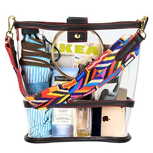 SharPlus Tote Shoulder Handbag Clear Colorful with Approved Strap PVC Bucket Crossbody Purse Events Stadium Sporting Plastic Transparent Bag r4rqtw76U