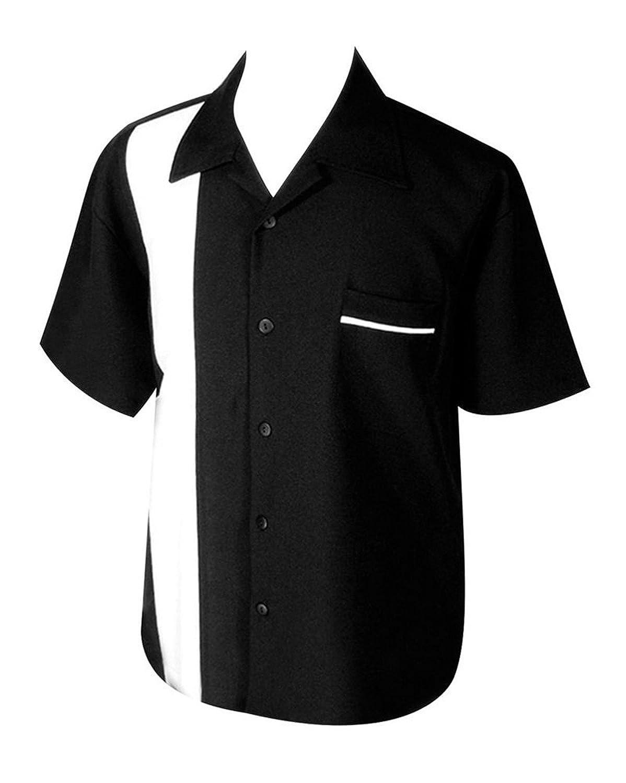 STEADY CLOTHING Men's Poplin Single Panel Bowling Shirt Black White M