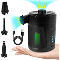 Rechargeable Air Pump for Inflatables, Electric Pump for Air Mattress with 3 Nozzles Inflator Deflator for Air Bed Pool…