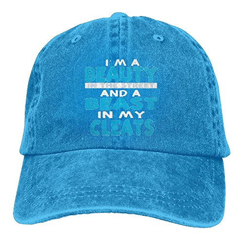 I'm A Beauty in The Street and A Beast in My Cleats Adult Adjustable Printing Cowboy Baseball Hat RoyalBlue