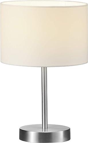 Stehlampe Stoffschirm weiß rund Ø 35cm mit E27 Fassung moderne Wohnzimmerlampe