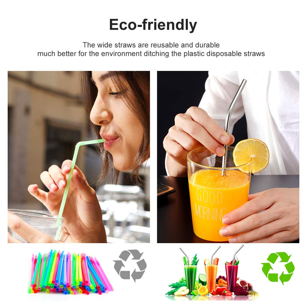 Stainless Steel Straw Multi Color Reusable Metal Drinking Straws 8.5 inch with Cleaning Brush,for Tumblers Cold Beverage 8 Pack Silver