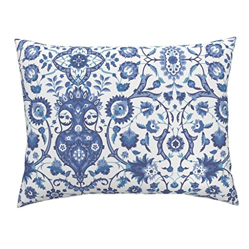 Roostery Turkish Islamic Persian Victorian Damask Indian Indigo Standard Knife Edge Pillow Sham Bisāṭ 694J by Muhlenkott 100% Cotton Sateen by Roostery