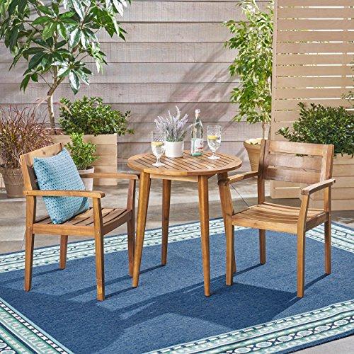 Great Deal Furniture 305275 Kuhn Outdoor 3 Piece Acacia Wood Bistro Set, Teak Finish