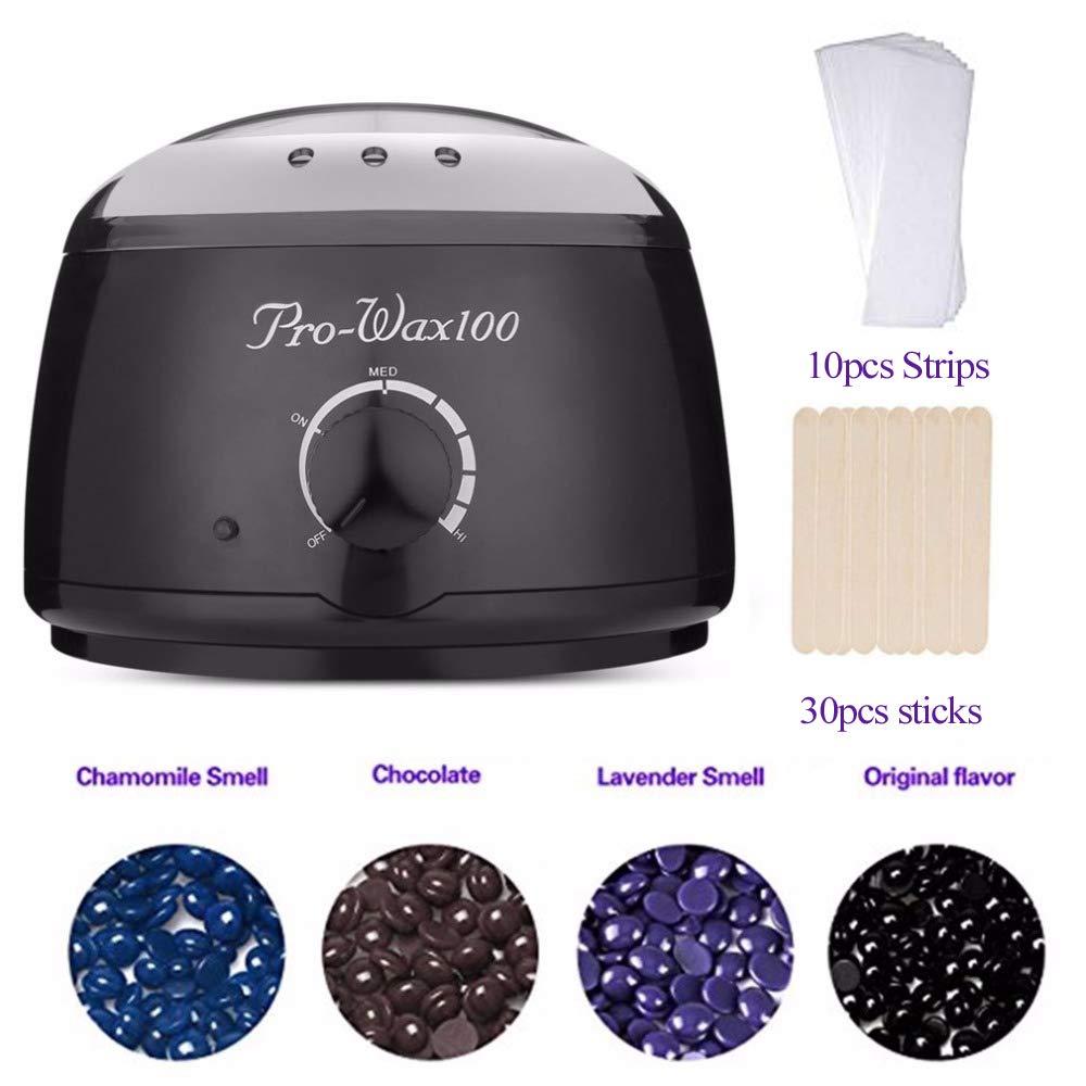 Wax Warmer Hair Removal Kit Electric Pot Heater Warmer & 400 Gram Hard Wax Beads & 30 Pack Wax Applicator Sticks & 10 Non Woven Strips HangYuan