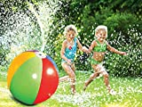 Crislan Splash and Spray Ball, 30in-Diameter Inflatable Sprinkler Water Ball Outdoor Fun Toy for Hot Summer Swimming Party Beach Pool Play (2019 Updated)
