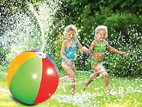Crislan Splash and Spray Ball, 30in-Diameter Inflatable Sprinkler Water Ball Outdoor Fun Toy for Hot Summer Swimming Party Beach Pool Play (2019 Updated) ()