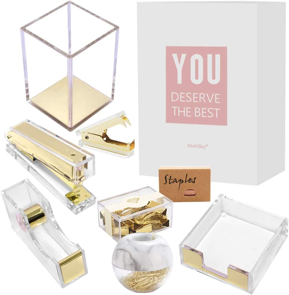 MultiBey Clear Acrylic Desk Organizer 8 in 1 Office Supplies Organization Accessories Set of Rose Gold Paper Clips Pen Holder Stapler Tape Dispenser Sticky Notes Holder Staples Binder Clip (Gold)