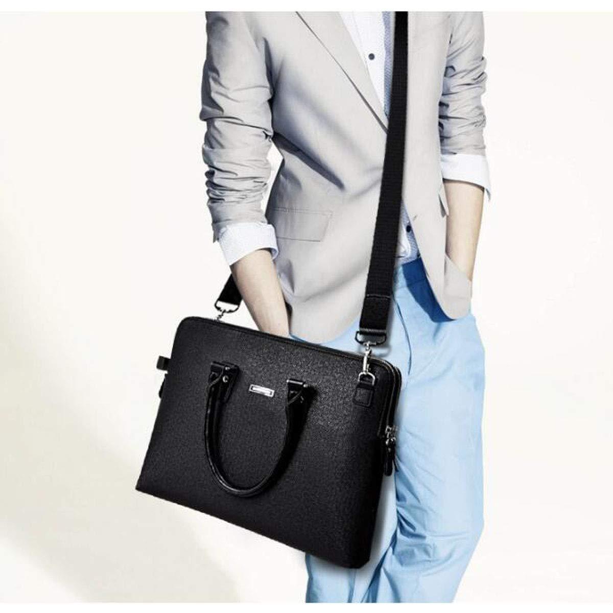 New Leather Mens Bag Double Zipper Mens Handbag Size: 38829cm Wear Resistant Qiaoxianpo01 Briefcase Color : Dark Coffee