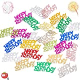 1500 Confetti Glittered HAPPY BIRTHDAY Shape 100 Grams - BDay Party Anniversary Wedding or Special Event to Spread on Table for Festive and Cool Design - Embossed Foil Decoration Colorful Mix – Suitable for Boys Girls Adults add FUN FUN FUN – by Tomato Toys