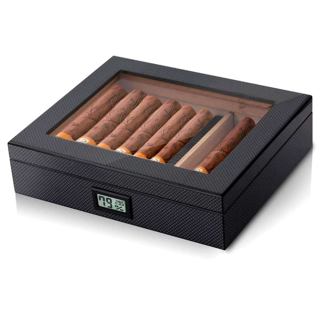 Gaoduan Cigar Humidor Carbon Fiber Design Handcrafted Modern Cedar Humidor with Front Digital Hygrometer and Humidifier,Cedar Divider Royale Glasstop Holds 20-25 Cigars