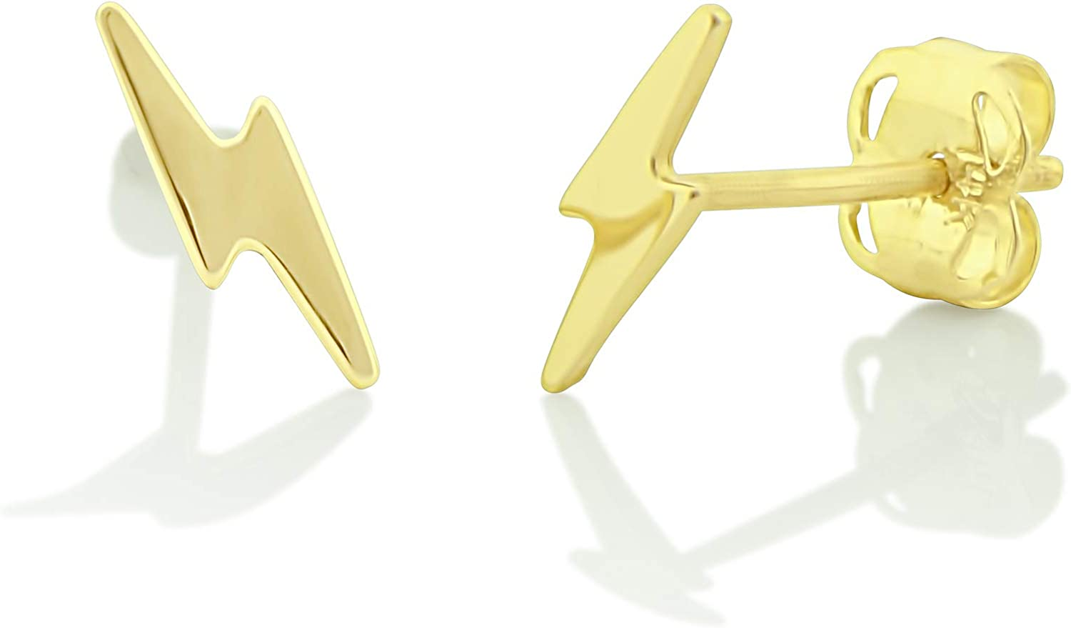 Amazon Com 14k Yellow Gold Lightning Bolt Stud Earrings 0 27in Clothing