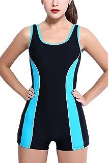 9fd952e2f5f91 CharmLeaks Women Boyleg One Piece Swimming Costume Sports Swimwear Padded…
