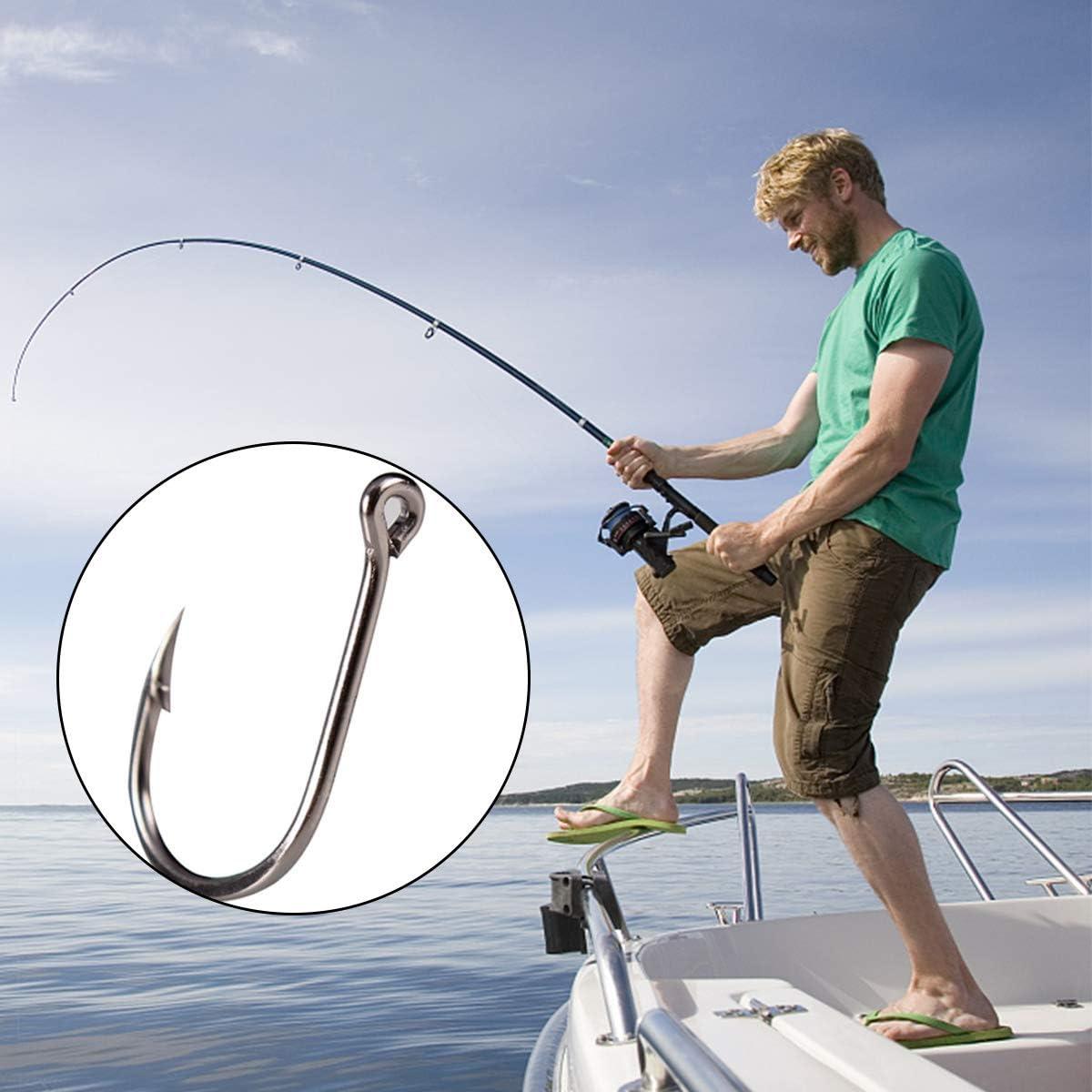 HQdeal Anzuelos de Pesca 10 Diversos tama/ños anzuelos para Pesca de mar 200 Piezas Ojo Negro de Acero de Alto Carbono Anzuelo con Caja Ganchos de Pescados