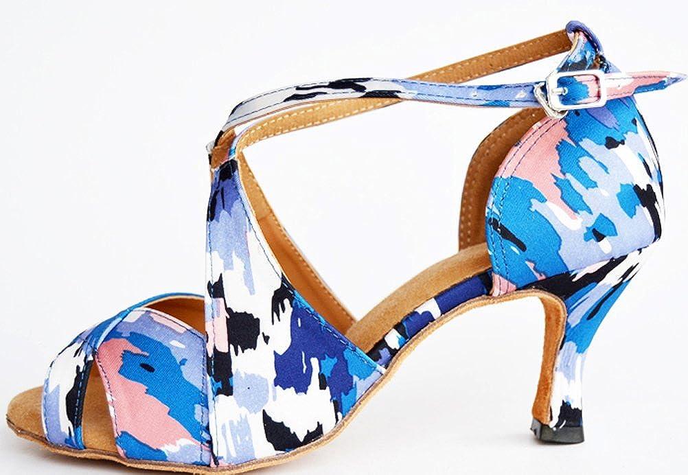 002 Womens Latin Tango Cha-Cha Salsa Party Modern Across Strap Camouflage Peep-Toe Satin Professional Dance-Shoes