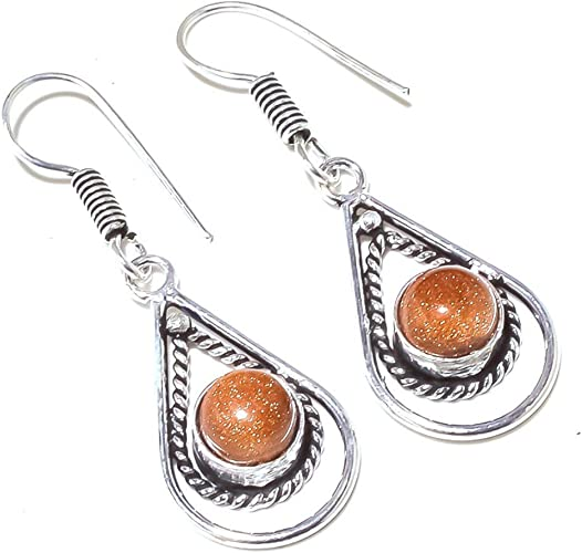 New Jewelry Golden Sunstone Sterling Silver Overlay 7 Grams Earring 1.75 Long
