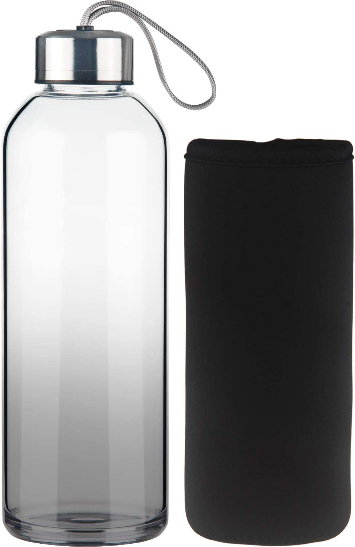 FCSDETAIL Botella de Agua de Cristal sin BPA, Botella de Agua de Vidrio de Borosilicato con Funda de Neopreno con Tapa de Acero Inoxidable 550ml / 1000ml