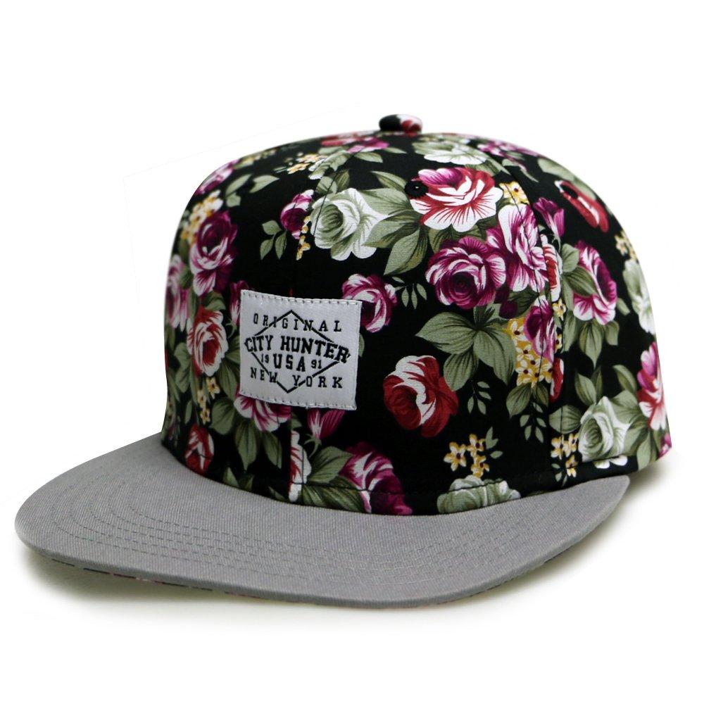8eb261c1e08a6 City Hunter Cf2071 Rose Garden Snapback Hats - Black grey at Amazon Men s  Clothing store