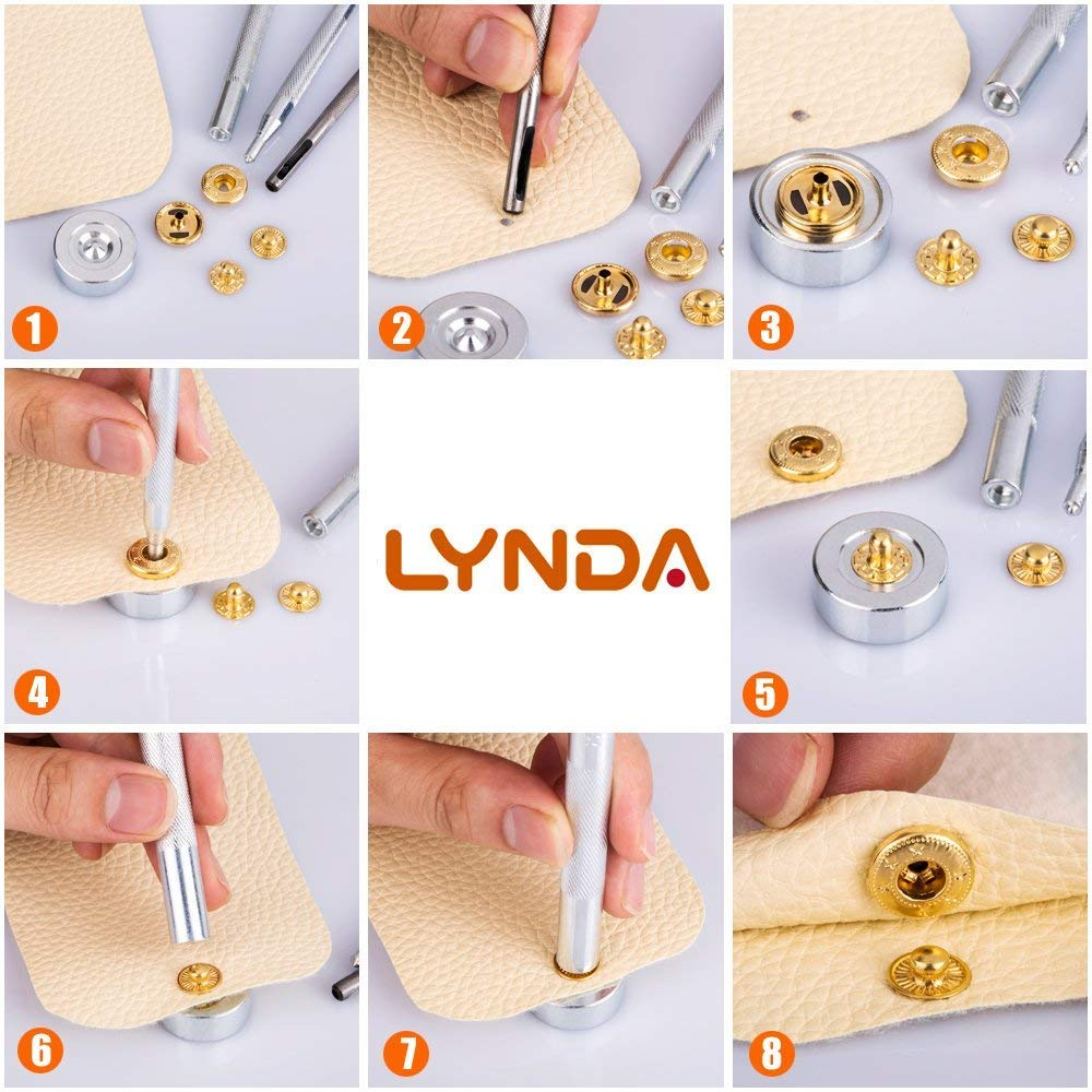 4 Colors Snap Fasteners with 4 Pieces Fixing Tools,Used in Leather Craft Lynda 80 Sets Metal Snap Button Jacket and Jeans,12.5mm in Diameter /… DIY Craft Overalls