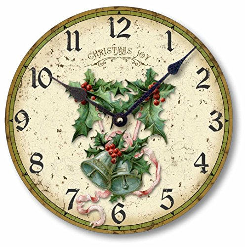 Vintage Style Christmas Clock - rustic shabby chic wall clock